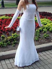 Выпускное/свадебное белое платье + перчатки,  500 грн.  Размер 44-46