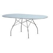 Дизайнерский овальный стеклянный стол Спайдер