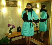 Продам зимнее пальто из плащёвки с мехом лисы