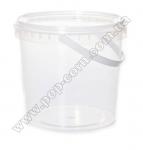Ведро пластиковое прозрачное с ручкой и крышкой,  1л
