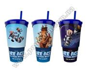 Стаканы пластиковые для напитков премьерные с трубочкой и крышкой под